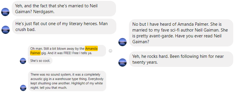 Text messages sent from M to me re: Amanda Palmer & Neil Gaiman