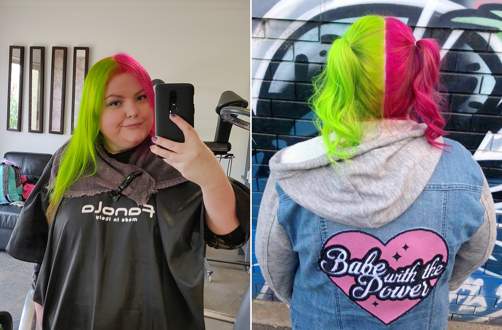 2 images showing off a neon green and pink split dye hair colour